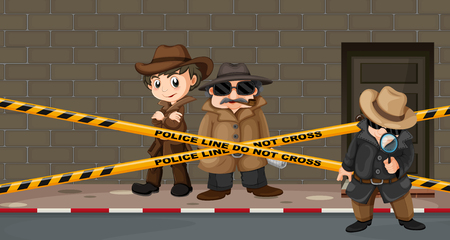 crime scene: Detectives looking for clues at the crime scene illustration Illustration