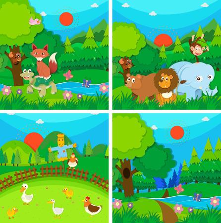 animales del bosque: Animales salvajes en la ilustración del bosque