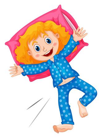 slumber party: Girl in blue polka dots pajamas illustration Illustration