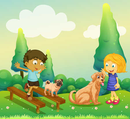 dogs playing: Boy and girl playing with dogs in the park illustration Illustration