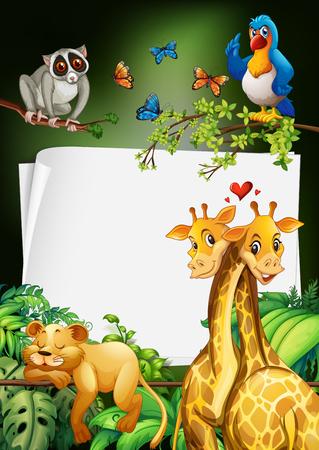Papier ontwerp met wilde dieren achtergrond illustratie