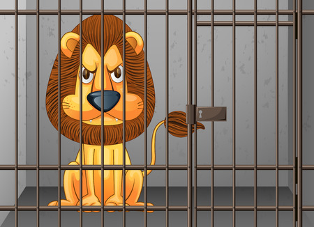 captivity: Lion being locked in the cage illustration