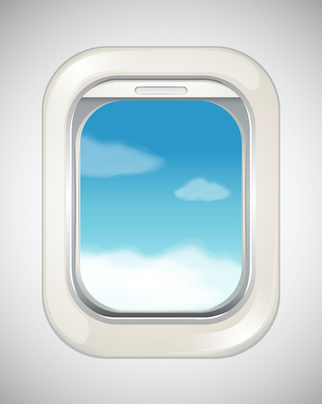 window shade: Sky scene from airplane window illustration