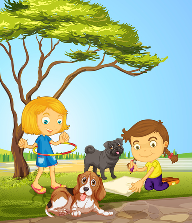 hulahoop: Two girls and two dogs at the park illustration Illustration