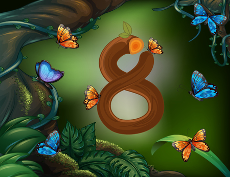 math set: Number eight with 8 butterflies in the garden illustration