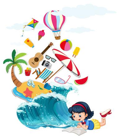 女孩阅读书籍与夏季主题插图