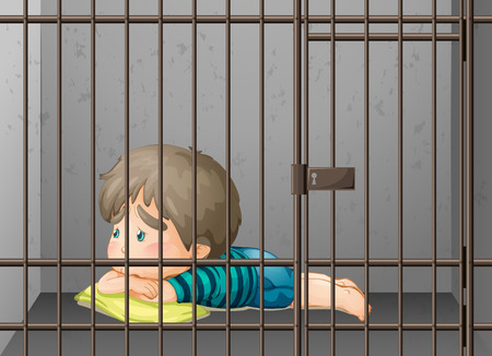 personas tristes: Little boy being locked up in the cell illustration