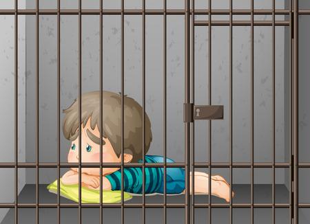 Petit garçon étant enfermé dans l'illustration de la cellule