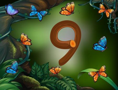 El número nueve con 9 mariposas en el jardín de la ilustración Ilustración de vector