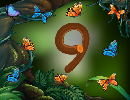 math set: Number nine with 9 butterflies in the garden illustration Illustration