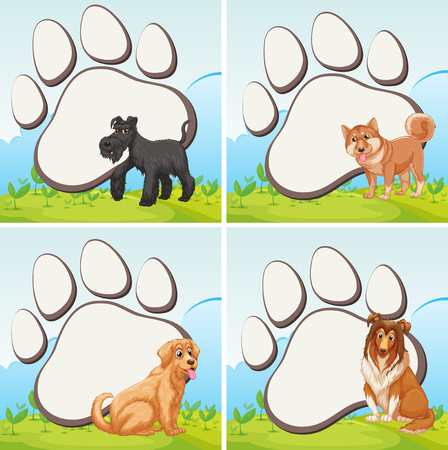 golden retriever puppy: Frame design with domestic dogs illustration