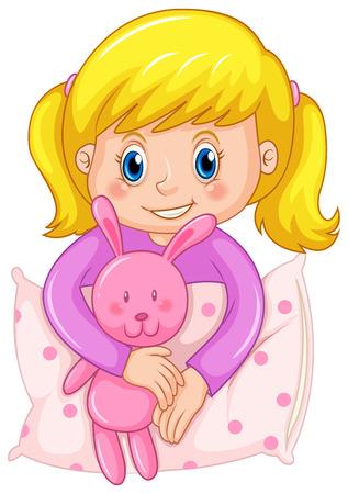 pijama: linda chica en la ilustración de color púrpura pijamas
