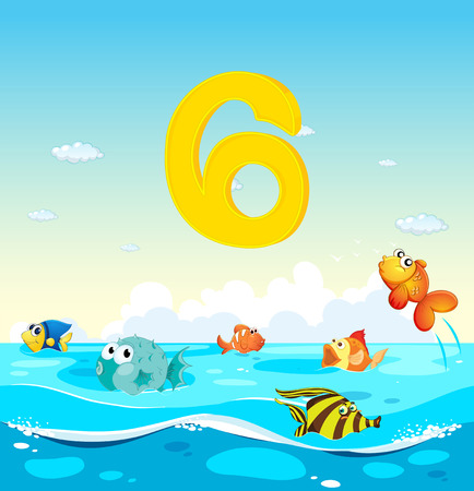 learning series: Number six with 6 fish in the ocean illustration