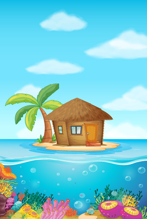 islands: Wooden hut on the island illustration
