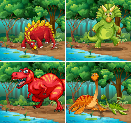 forest clipart: Four scenes of dinosaurs in the park illustration