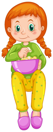 watching movie: Girl eating popcorn alone illustration