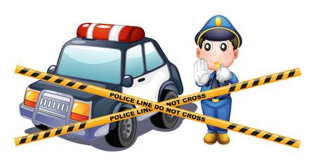 crime scene: Police man and car at the crime scene illustration