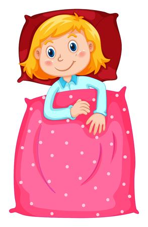 slumber party: Cute girl under polkadots blanket illustration