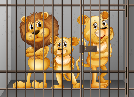 lock up: Lions being locked in the cage illustration