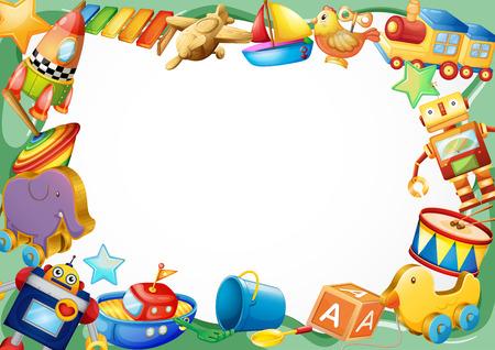 juguetes de madera: Dise�o del marco con la ilustraci�n de los juguetes de madera