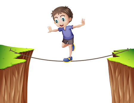 balancing: Boy balancing on the rope illustration