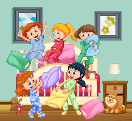 slumber party: Children at the slumber party illustration