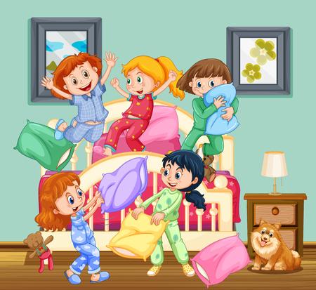 Los niños en la ilustración de la fiesta de pijamas Ilustración de vector