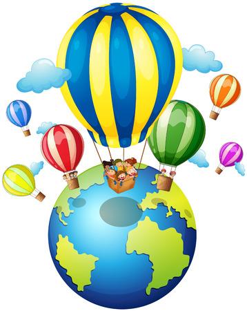 earth planet: Children riding on balloon around the world illustration