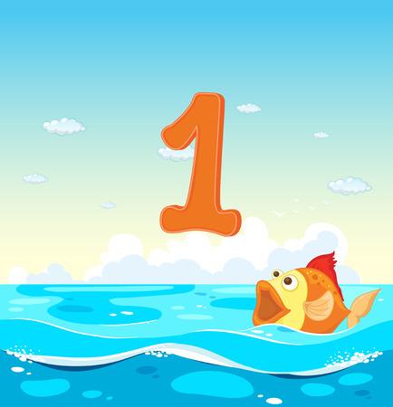numero uno: Número uno con 1 peces en el océano ilustración Vectores