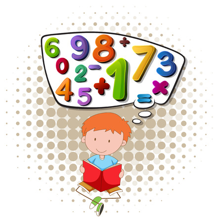 numbers background: Boy reading math book illustration