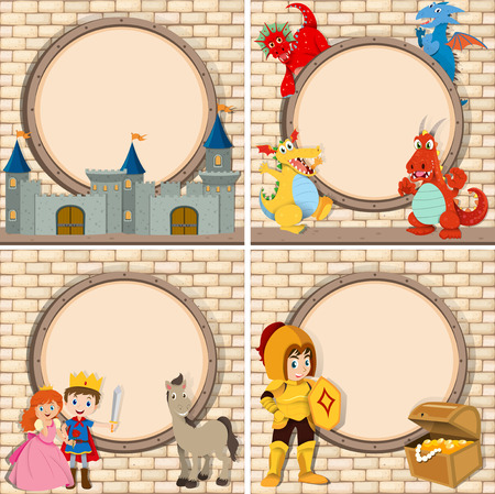 fantacy: Four frame with fairytales characters illustration