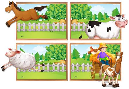carnivorous animals: Farm animals and farmer on wagon illustration