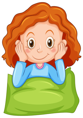 slumber party: Girl with happy face illustration