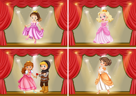 Princess and knight on the stage play illustration