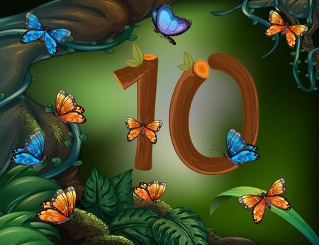 numero diez: El número diez con 10 mariposas en el jardín de la ilustración