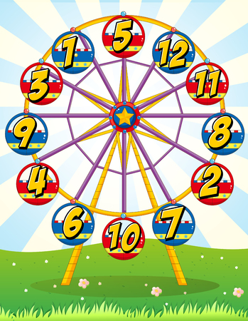 number eleven: Ferris wheel with numbers on the carts illustration