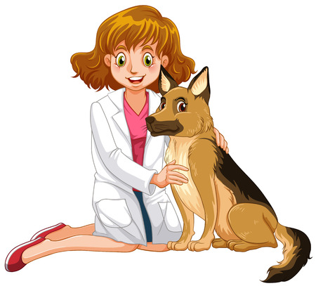 vet: Vet and little dog illustration Illustration