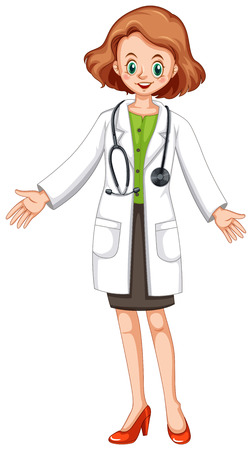 medical drawing: Female doctor in white gown and stethoscope illustration