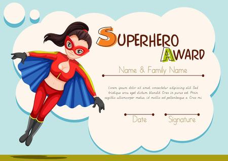 superpower: Certificate design with superhero background illustration