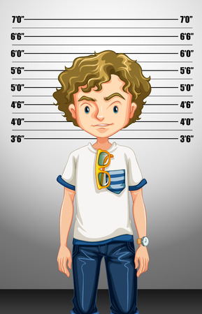 suspect: Hipster man being suspect illustration