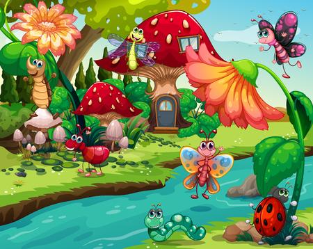 mushroom: Los insectos que vuelan por el r�o ilustraci�n Vectores