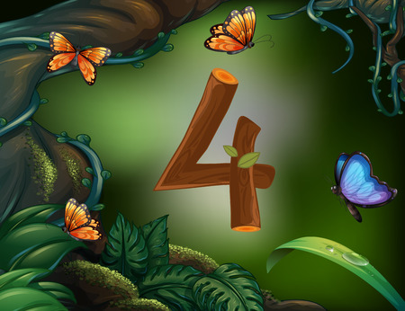 background card: Number four with 4 butterflies in the garden illustration Illustration