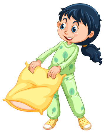 Girl in green pajamas illustration