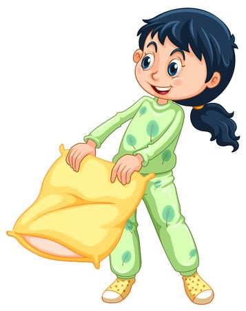 slumber party: Girl in green pajamas illustration