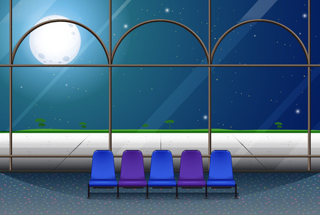 moon chair: Room in the building on fullmoon night illustration Illustration