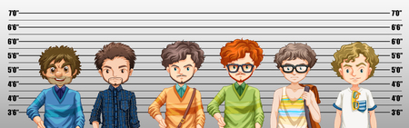 suspected: Men being suspected for crime illustration