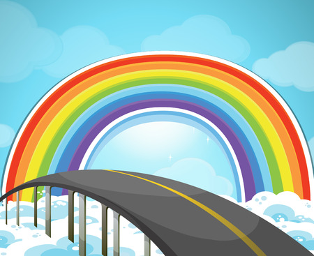rainbow bridge: Highway and rainbow in the sky illustration