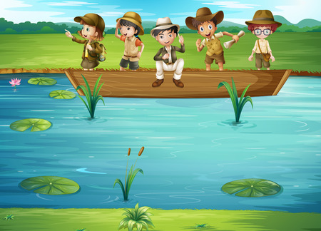 children pond: Children riding on the boat illustration