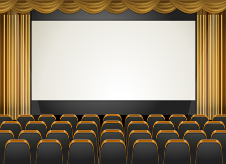 스크린과 좌석 일러스트와 함께 극장 장면