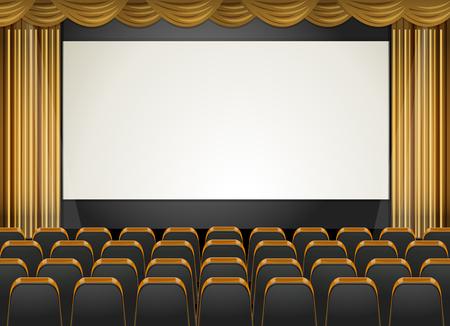 teatro: escena de teatro con la pantalla y los asientos de la ilustración Vectores
